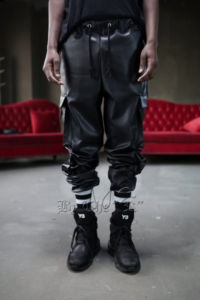 Double Pocket Leather Cargo Pants