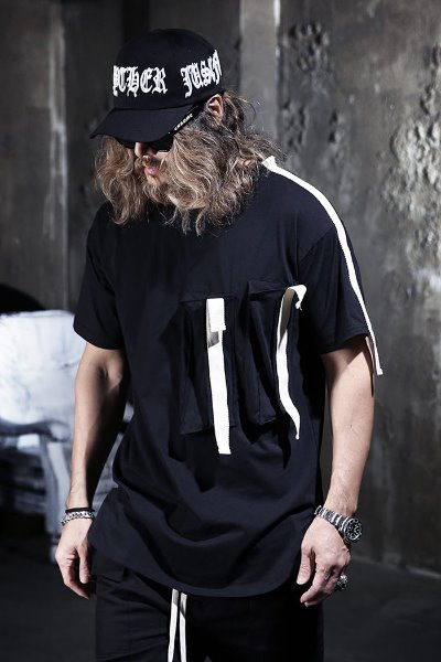 Webbing Tape Patch Pocket Short T-shirt