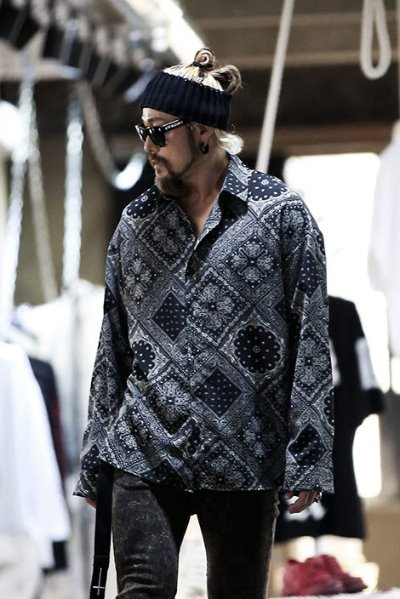 Paisley Bandanna Loose Black Shirts
