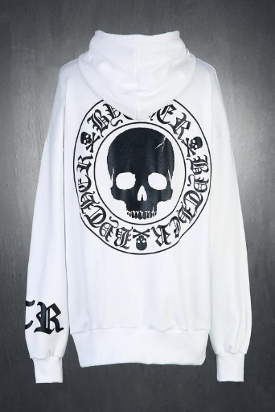 ByTheR Skull Logo Embossed Relaxed Fit Hoodie White