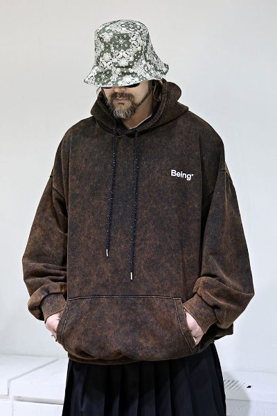 After-Dye Lettering Loose Fit Hoodie