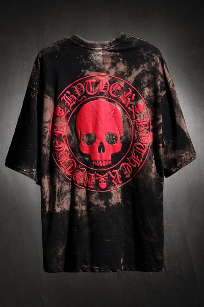 ByTheR Custom Rough Bleach Skull Logo Embossed Loose Fit Short Sleeve Tee Red