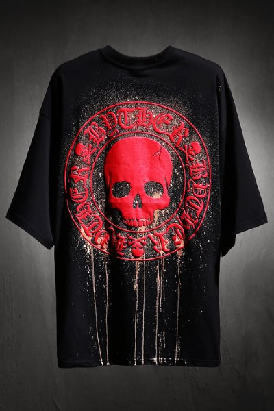 ByTheR Custom Dripping Bleach Skull Logo Embossed Loose Fit Short Sleeve Tee Red