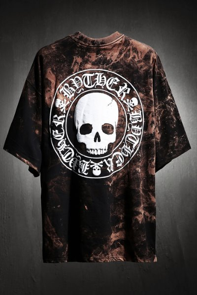 ByTheR Custom Rough Bleach Skull Logo Embossed Loose Fit Short Sleeve Tee Black