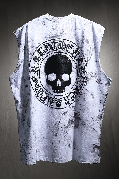 ByTheR Custom Rough Painting Skull Logo Cutting Box Sleeveless White