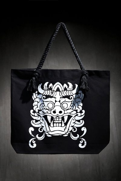Mukha Print Oversized Rope Shoulder Bag Black