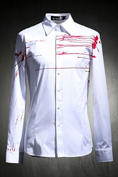 ByTheR Custom Red Flow Painting Slim Fit Shirt