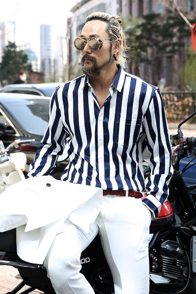 Navy striped silket shirt