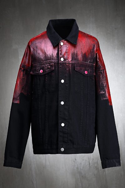 ByTheR Custom Red Painting Loose Fit Cotton Jacket Black