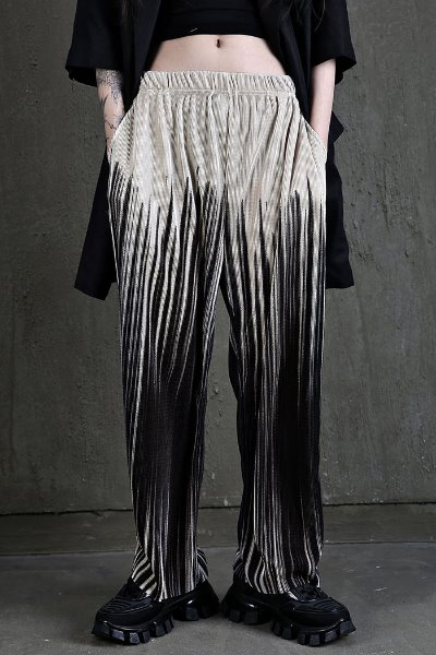 Wide fit Pleated Pants with Vertical Prints