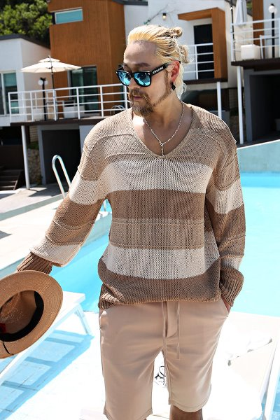 Two-tone color matching loose fit summer cooling knit
